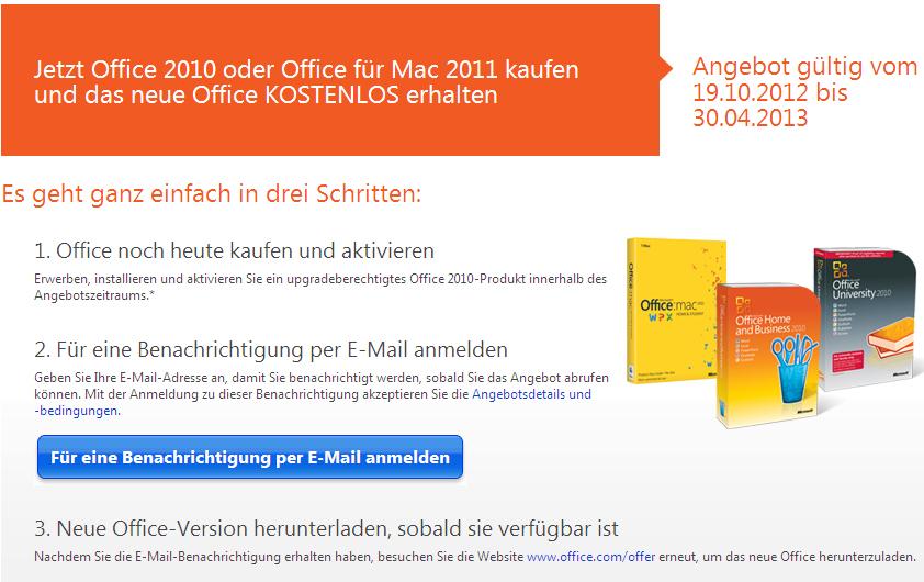 Office 2013-Angebot von Microsoft